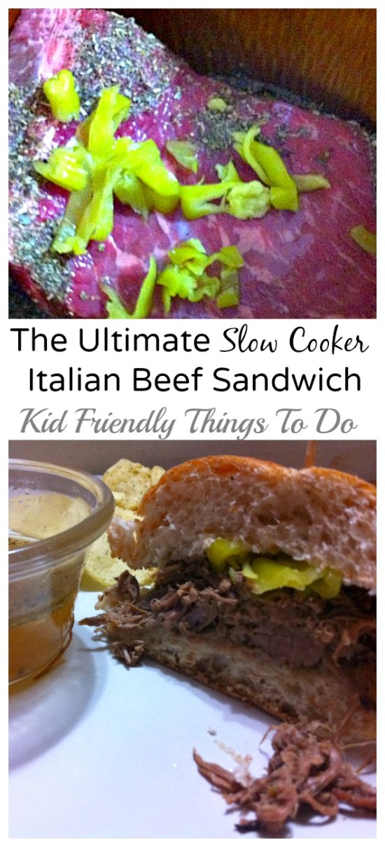 The best Slow Cooker Italian Beef Sandwich. KidFriendlyThingsToDo.com