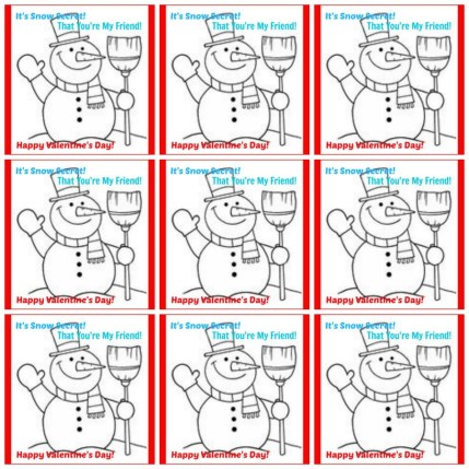 Add this free printable to Snow Caps, a Snowman Craft, pencil, or a Snowman Toy! The possibilities are endless with this non-candy valentine!