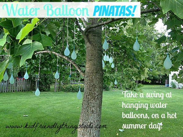 What a fun summer game! Use a stick or bats to break water balloons over your head!
