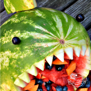 Awesome Shark Fruit Salad for a Shark Themed Party Food Idea - DIY watermelon shark idea for a fun fruit salad for kids - www.kidfriendlythingstodo.com