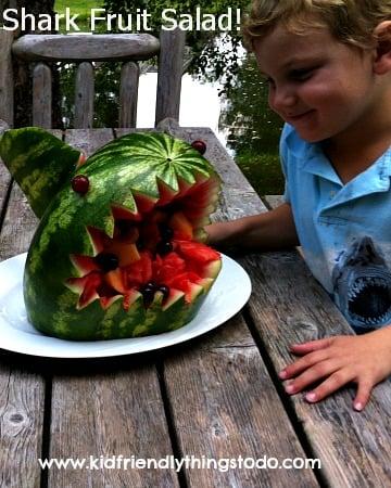Tutorial of this fun Shark Fruit Salad!