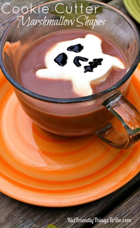 Using cookie cutters to make shapes out of marshmallows - KidFriendlyThingsToDo.com