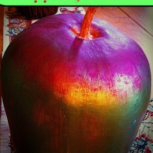 Apple Gourds! They look just like giant apples! Dried gourds are easy to paint, and fun to decorate with!