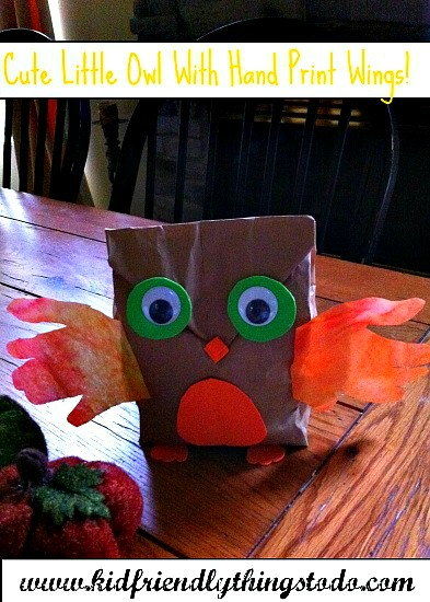 Paper Bag Owl Craft With Child Hand Print Wings Kid