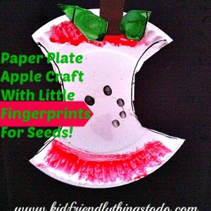 What a cute fall craft for kids! I love figerprint crafts. What a clever idea to make an apple core out of a paper plate!