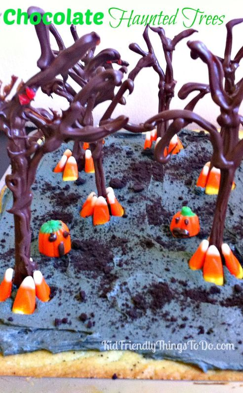 Make Chocoalte Trees for Halloween Desserts - KidFriendlyThingsToDo.com