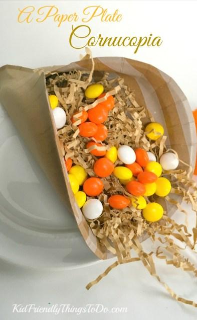Easiest Thanksgiving Craft Ever! A paper plate Cornucopia! - KidFriendlyThingsToDo.com