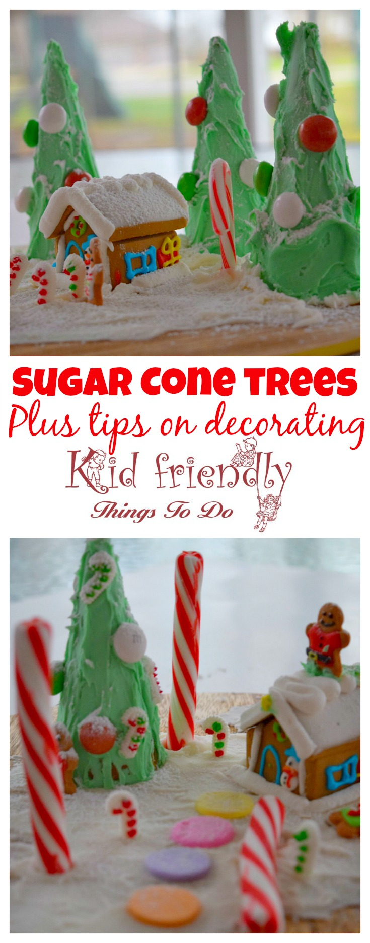 Sugar Cone easy Christmas trees for a fun and simple alternative to gingerbread houses with the kids for holiday parties! plus tips on decorating - www.kidfriendlythingstodo.com
