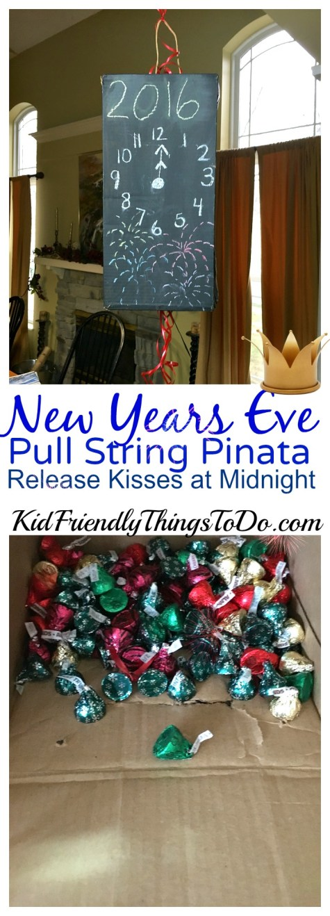 New Years Eve With Kids! DIY Pull String Pinata to release Kisses at Midnight - KidFriendlyThingsToDo.com