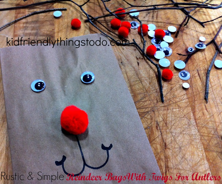 Use twigs for antlers on reindeer bags! They are the perfect natural antler! So cute!