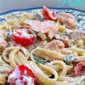 Grilled Salmon and Tomato Pasta With Cream Sauce