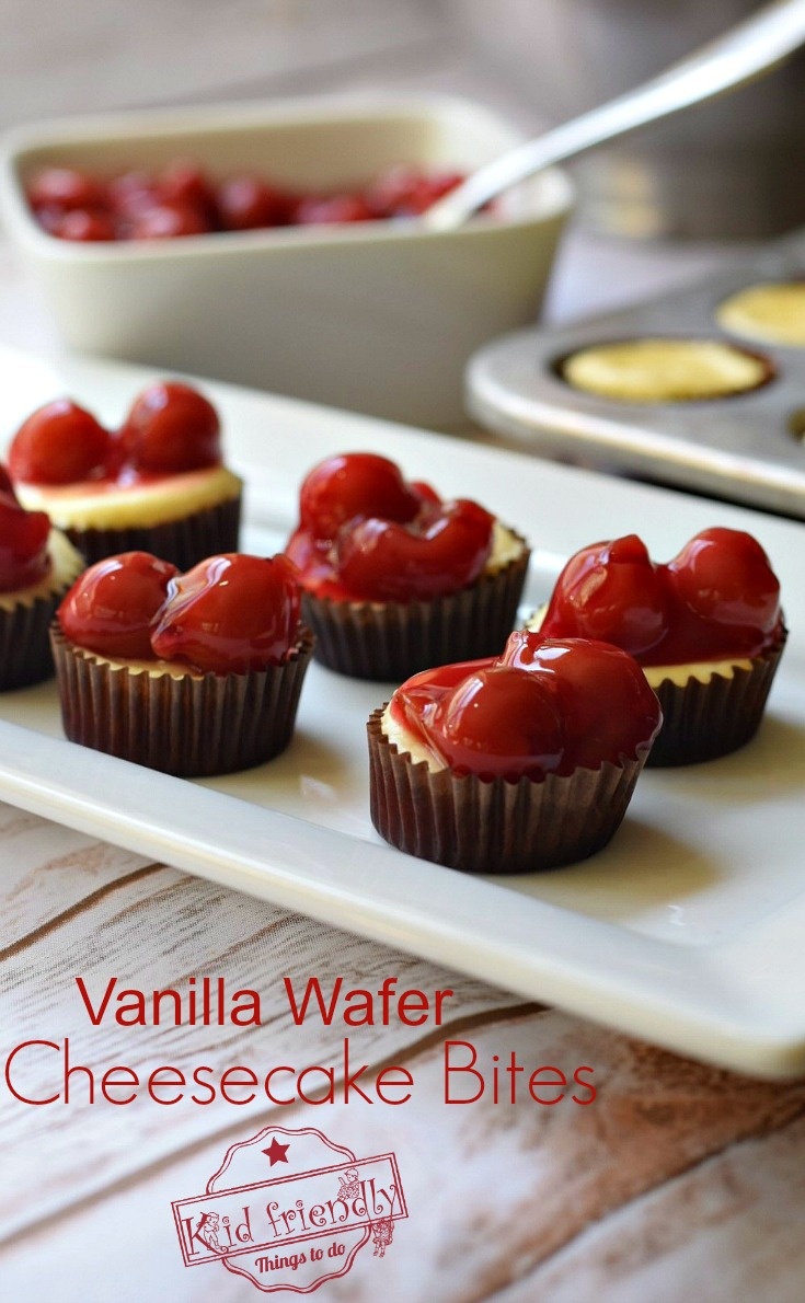 Vanilla Wafer Crust Mini Cheesecake Bites. Easy to make and perfect for your fun parties. Great dessert - www.kidfriendlythingstodo.com