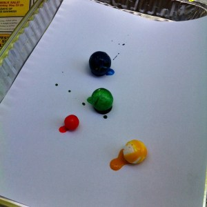 Marbles are so much fun! Painting with marbles is even more fun for kids! We used plastic spoons, Dixie Cups, and disposable cake pans for easy clean up, too!
