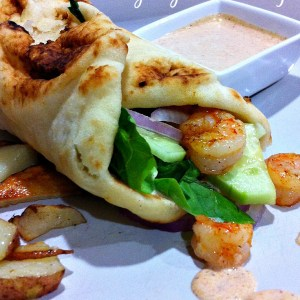 Naan Shrimp Wraps with Creamy Cajun Dressing Recipe - Healthy Ingredients, delicious dinner, easy to make! Mmm...Mmm.Yum!