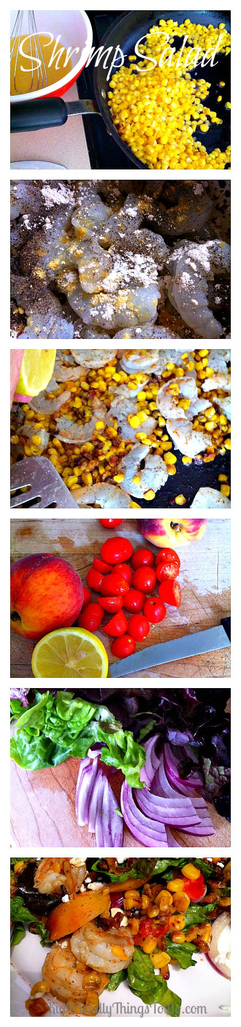 Roasted Corn, Nectarine, and Feta Cheese Shrimp Salad Recipe. The dressing gets even better!