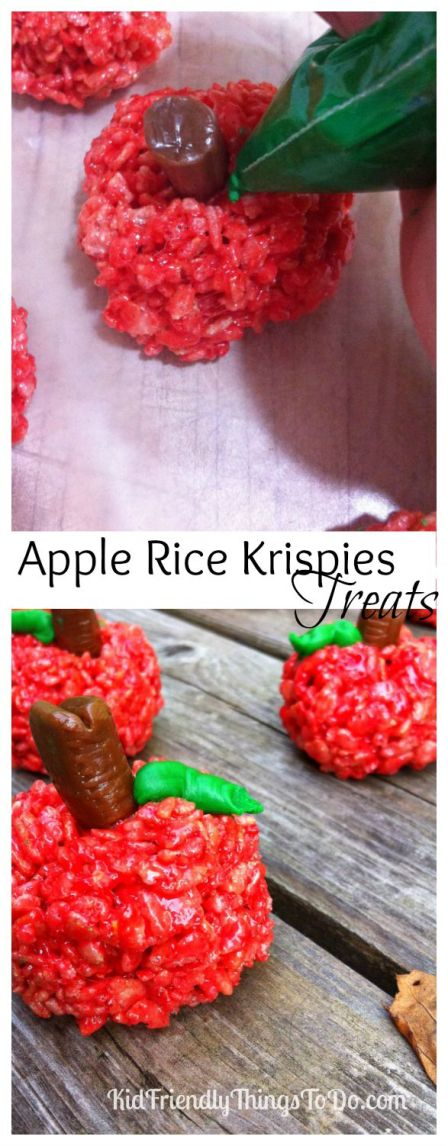 Apple Rice Krispies Treat Fun Food - These are so simple to make! Perfect for classroom fall parties, Halloween parties, back to school ideas, or teacher gift!