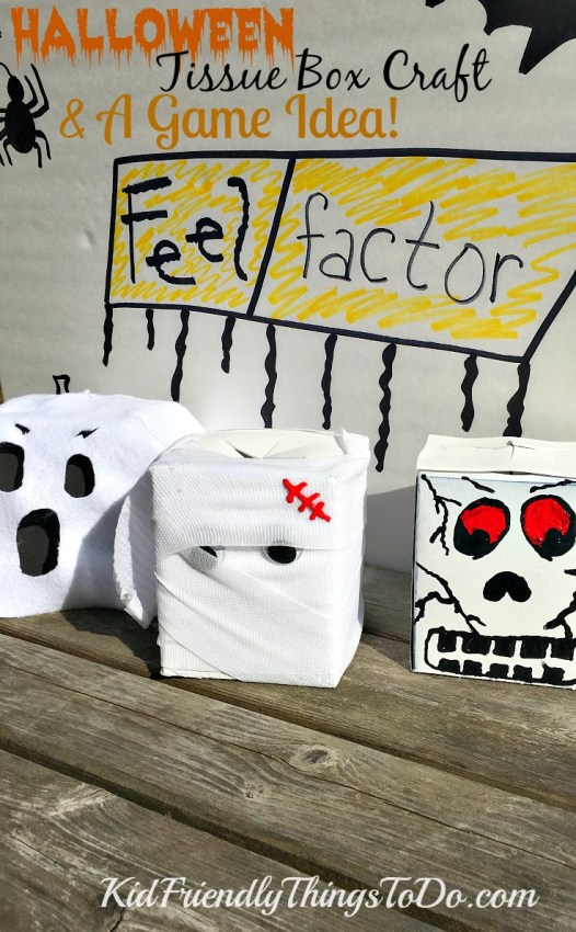 Make tissue boxes into Halloween characters for a fun craft, and play the Feel Factor (Fear Factor) Halloween Party Game! - KidFriendlyThingsToDo.com