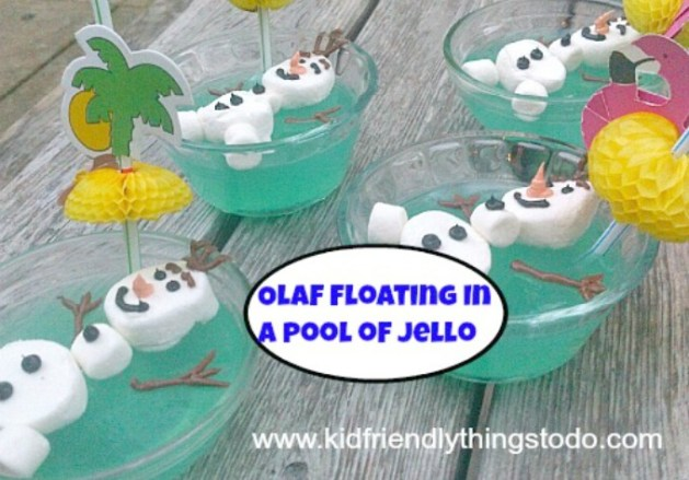 Olaf Floating In A Pool of Jello - KidFriendlyThingsToDo.com