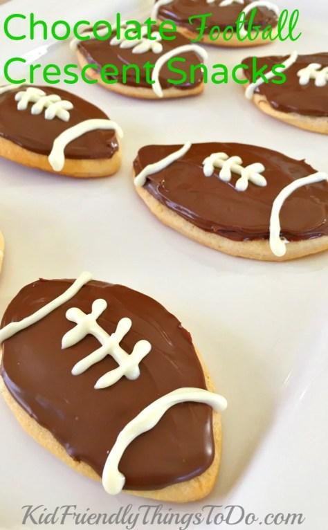 Chocolate Football Crescent Snacks  - a fun football party food! - KidFriendlyThingsToDo.com