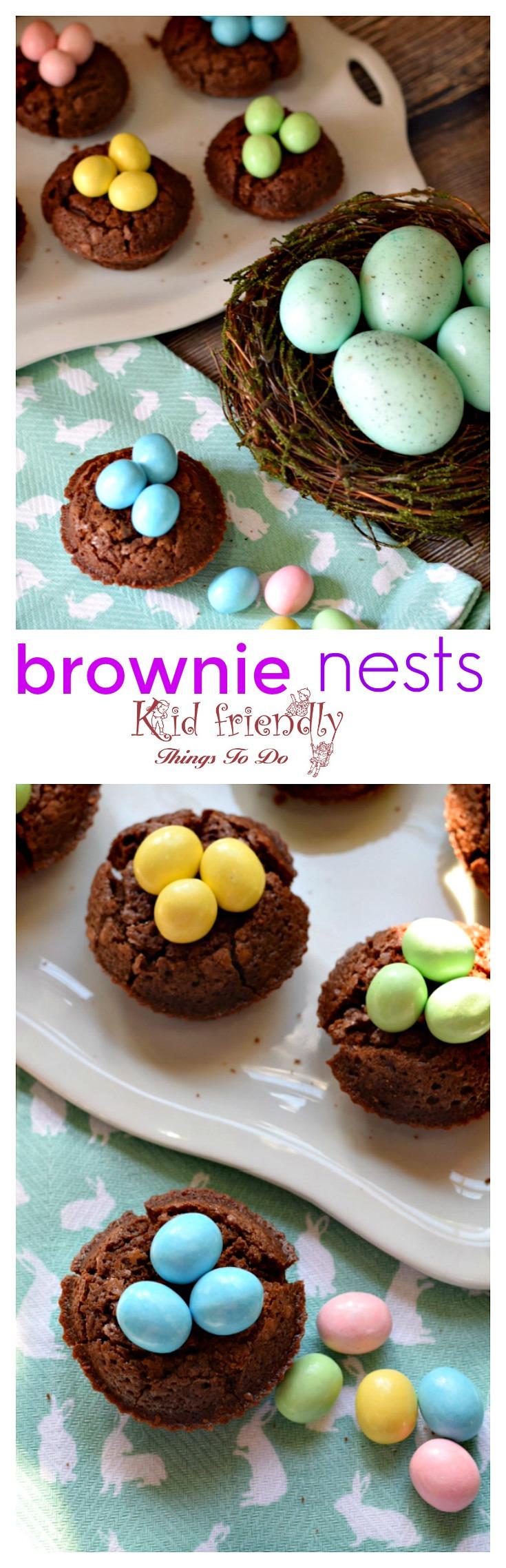 Easy to make Brownie Bird Nest for a spring or Easter kid friendly treat - great dessert for Easter www.kidfriendlyhthingstodo.com