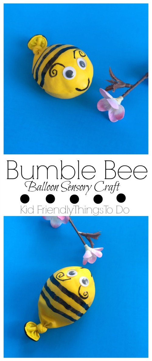 A Bumble Bee Balloon Fidget Sensory Craft For Kids - This is so much fun and the easiest craft to make! KidFriendlyThingsToDo.com
