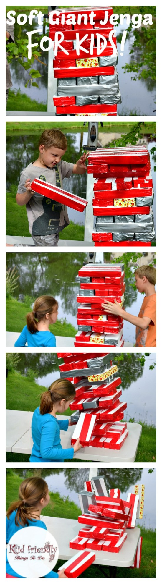 tA DIY Awesome Soft Giant Jenga Game For Kids - My kids couldn't stop playing it. For parties, anytime, summer and backyard fun! KidFriendlyThingsToDo.com