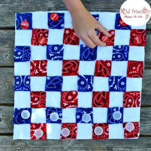 DIY - Make a No Sew Checkerboard and Bottle Cap Checkers