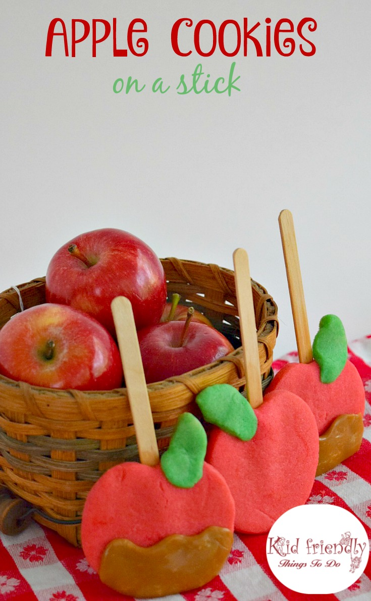 Adorable caramel apple sugar cookie recipe for a kid friendly apple fun food! Great fall activity and great for parties! www.kidfriendlythingstodo.com