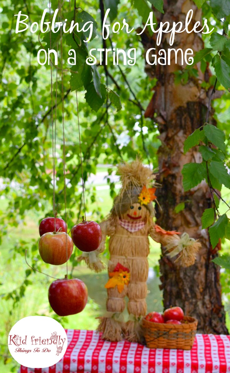 A fun outdoor apple game for kids and adults! Perfect for fall and harvest parties! A great alternative to bobbing for apples. www.kidfriendlythingstodo.com