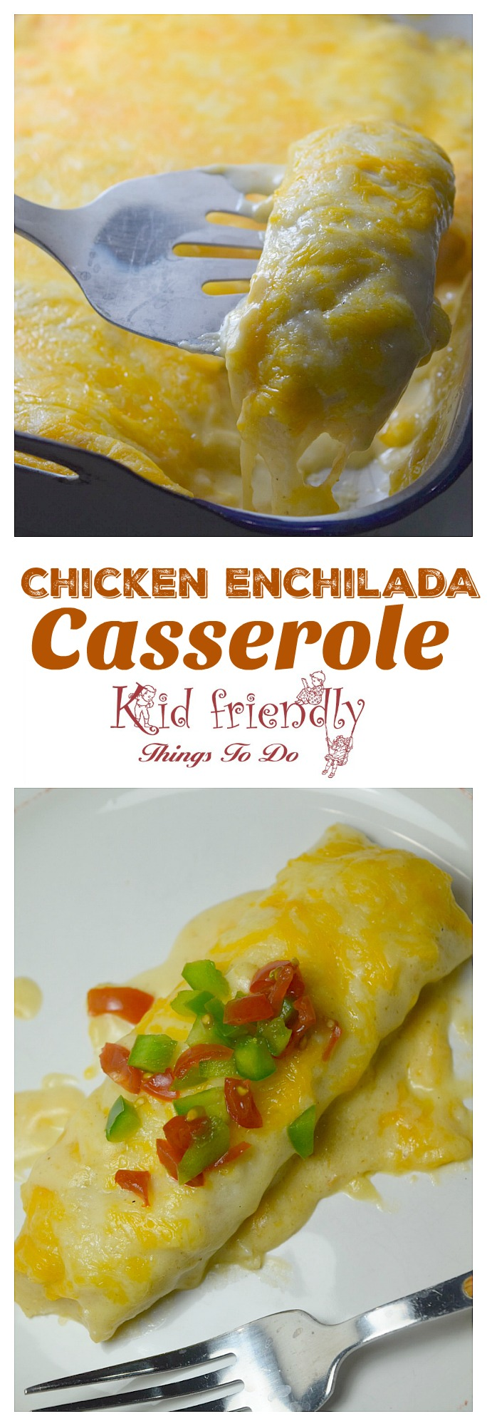 Chicken Enchilada Casserole with Sour Cream sauce - www.kidfriendlythingstodo.com