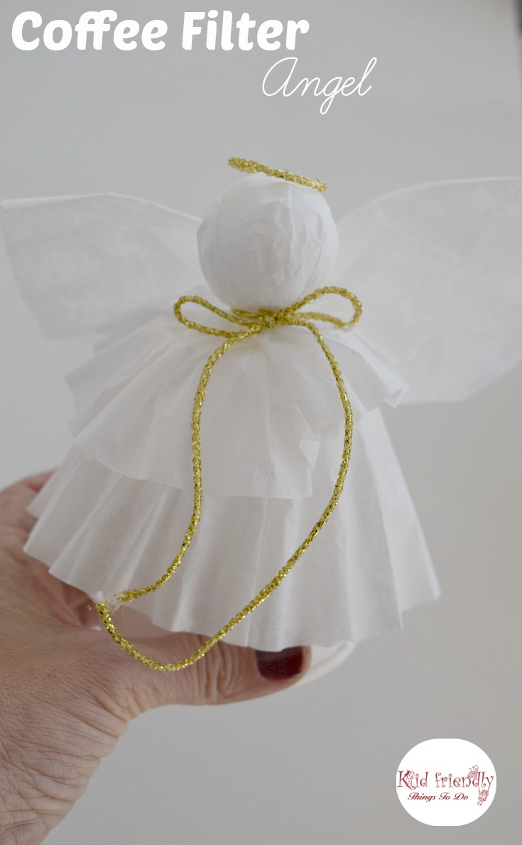 A simple coffee filter angel christmas tree topper craft for Angel christmas decoration