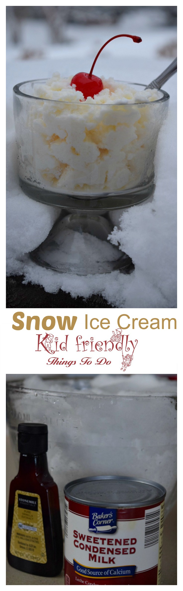 Simple and Delicious Three Ingredient Snow Ice Cream Recipe made with Sweetened Condensed Milk - This is so much fun to do with the kids and so easy to make. www.kidfriendlythingstodo.com