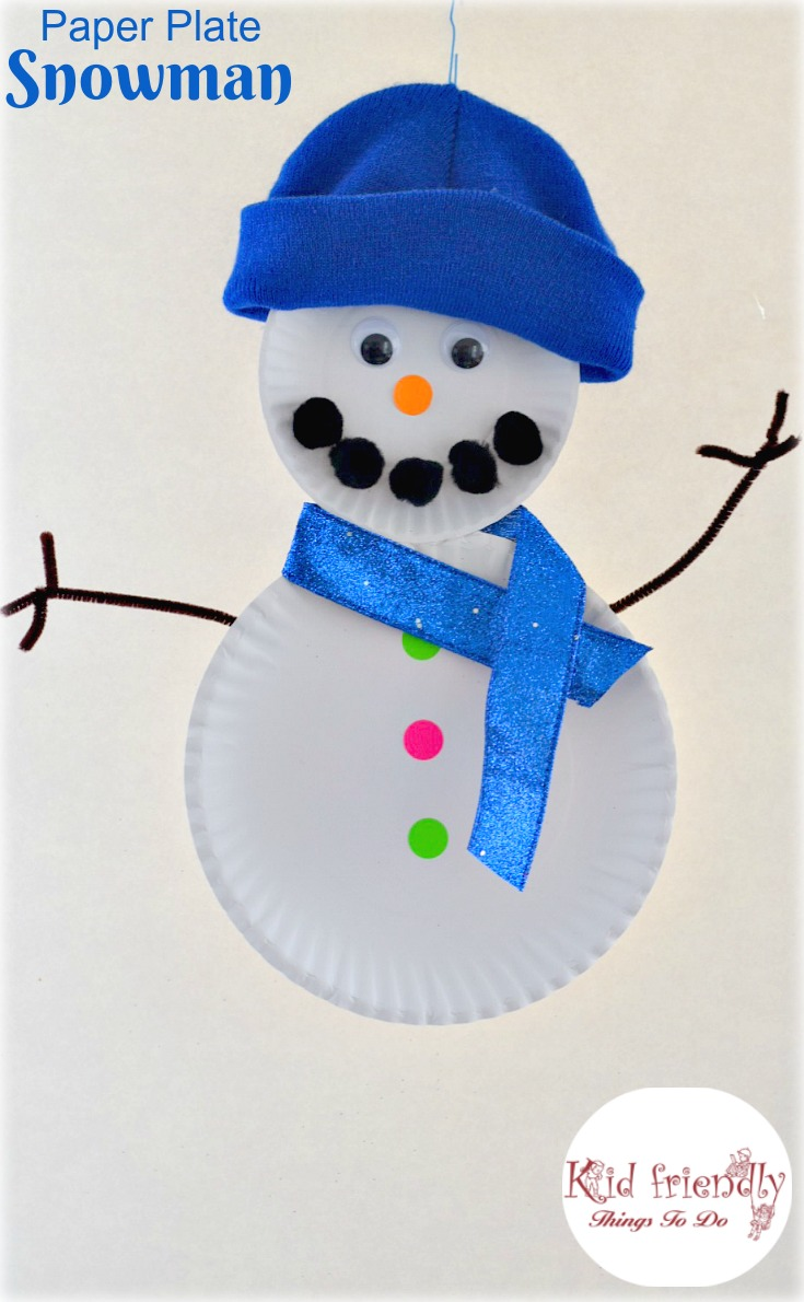 Snowman Craft Ideas For Kids Part - 24: Easy Paper Plate Snowman Craft For Kids To Make - Great For Preschool, And  Elementary