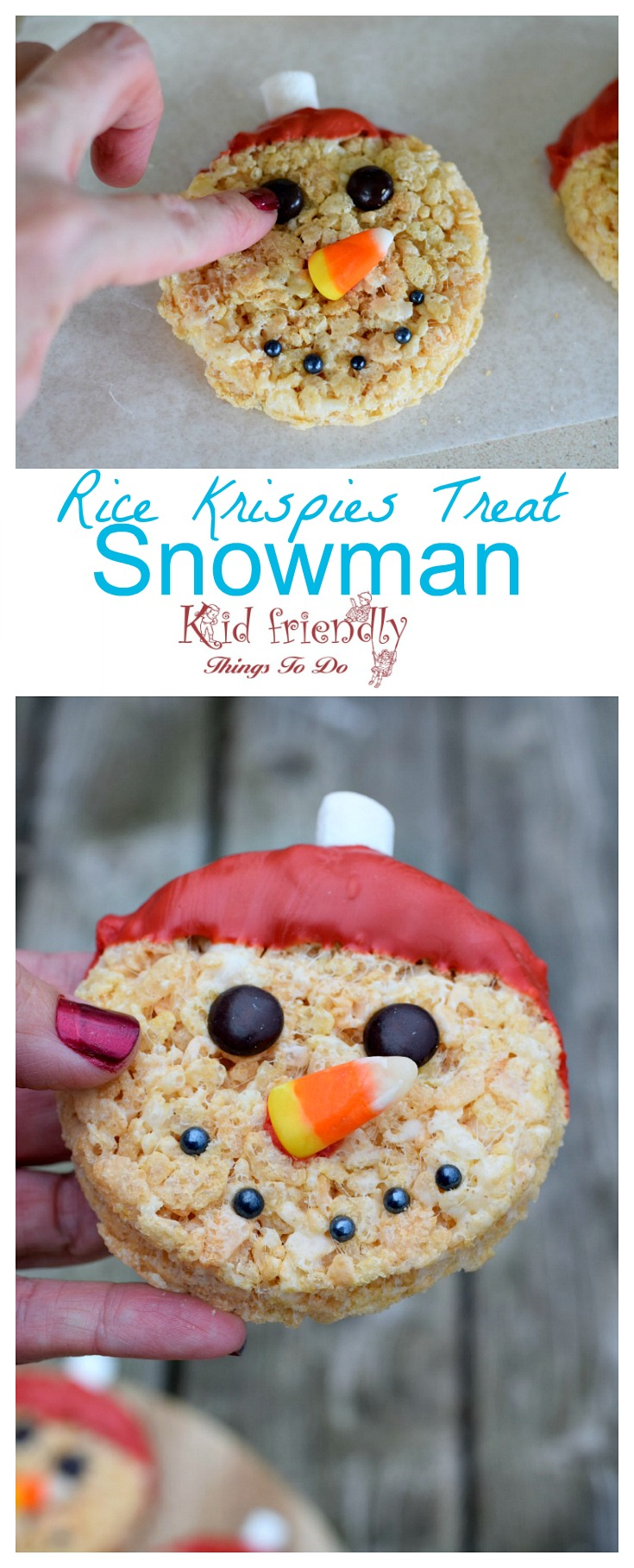 Snowman Rice Krispies Treat for a fun winter or Christmas treat. www.kidfriendlythingstodo.com