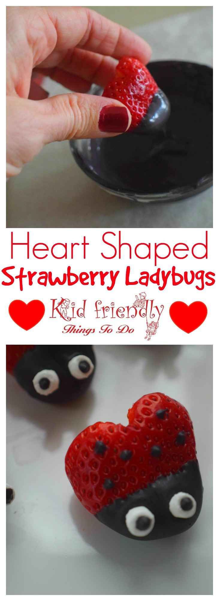 Heart Shaped Chocolate Covered Strawberry Ladybugs