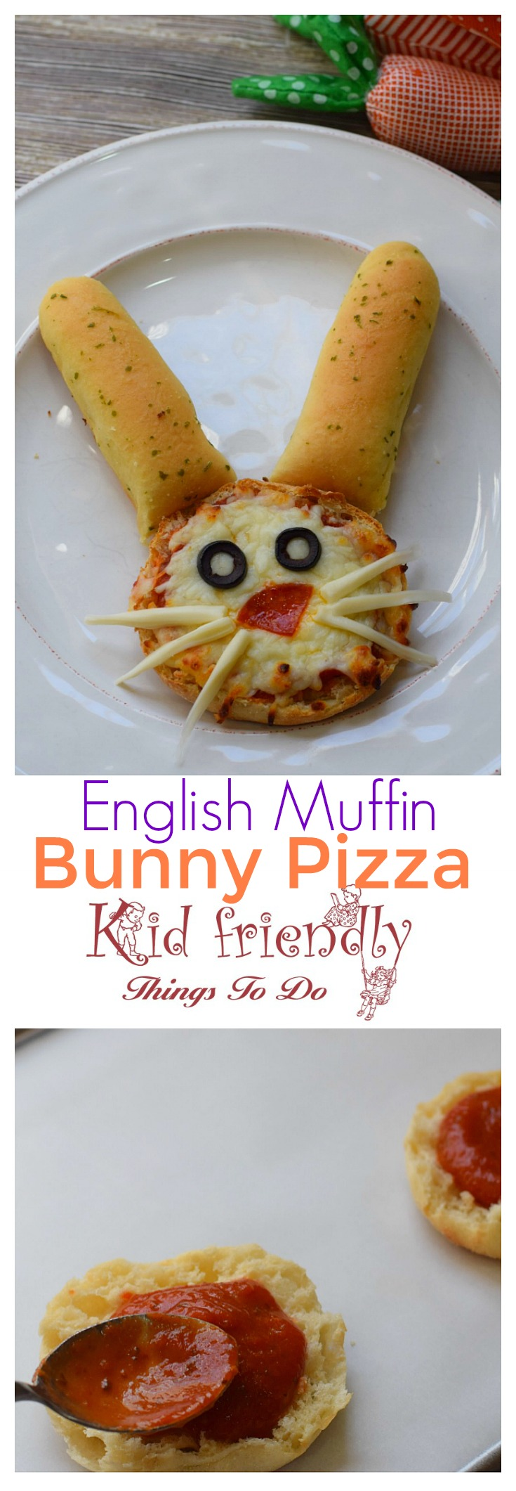 English Muffin Bunny Pizza for a Kid Friendly Fun Food Treat - Cute little bunny english muffin pizzas - www.kidfriendlythingstodo.com