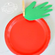 Make a Simple Paper Plate & Handprint Apple with the Kids