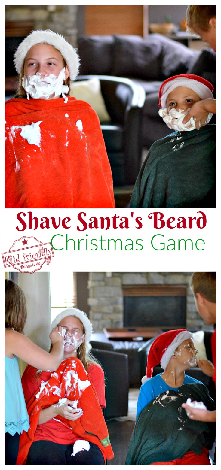 Shave Santa's Beard Christmas Game for Kids, Teens, and Family to play - Great Minute to Win It Game - Funny game for parties. www.kidfriendlythingstodo.com