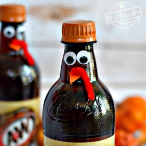 Fun Turkey Root Beer Thanksgiving Drink - Cute Fun Food Craft for the Table - fun for kids, teens and adults. - www.kidfriendlythingstodo.com