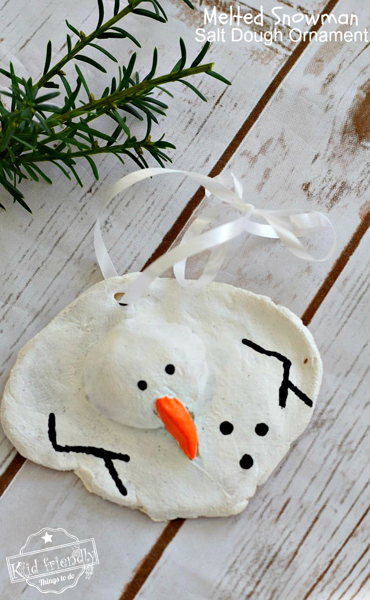 A DIY Melted Snowman and Candy Cane Salt Dough Ornament Idea and Recipe for Christmas with Kids, teens and adults - www.kidfriendlythingstodo.com