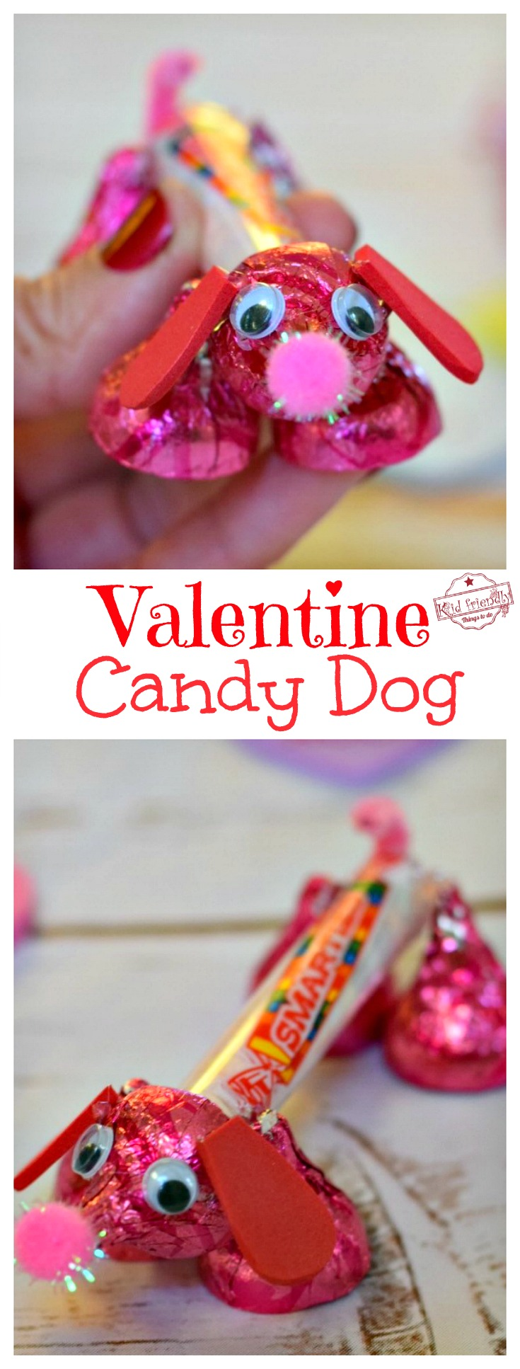 Make a valentine 39 s candy dog for a fun kid 39 s craft and treat for Cool things to do on valentine s day