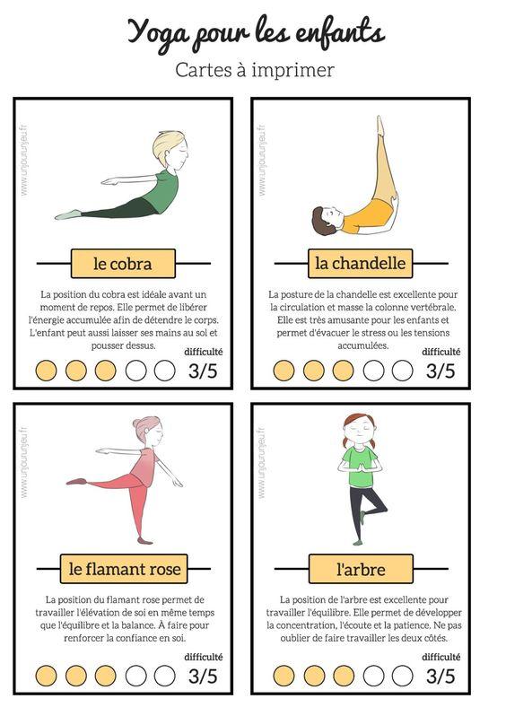 cartes de Yoga pour enfant à imprimer