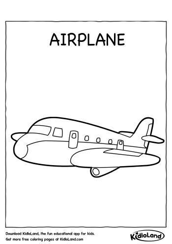 Download Free Airplane Coloring Page and educational