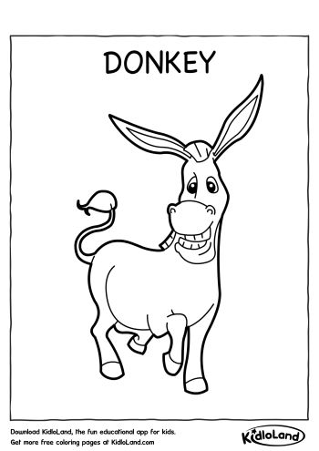 Download Free Donkey Coloring Page and educational