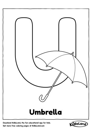 Download Free Alphabet Coloring U and educational activity