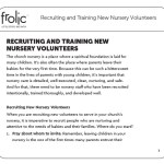 Freebie Friday: Recruiting and Training New Nursery Volunteers