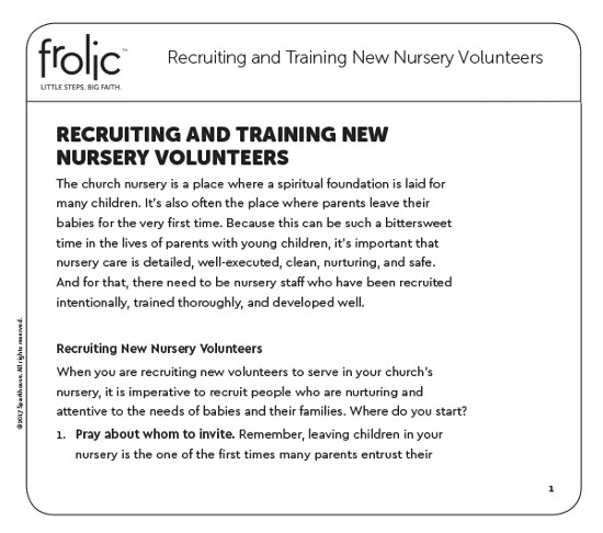Recruiting and Training New Kidmin Nursery Volunteers