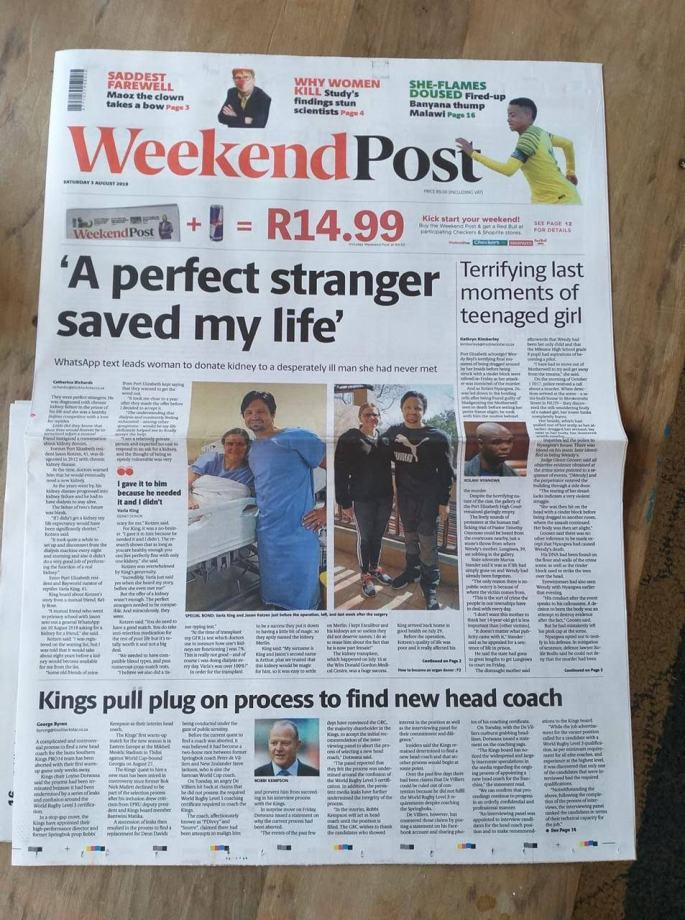 Front page article about our transplant