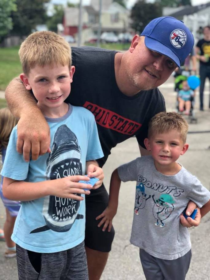 My son-in-law and my grandsons. They are happy to hev thier dad back.