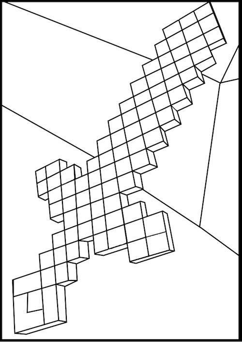 minecraft ,diamond sword .coloring pages